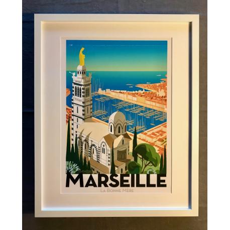 """Affiche tirage d'Art """"Marseille la bonne mère"""" Monsieur Z."""