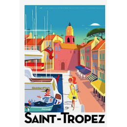 "Affiche tirage d'Art ""Le port de Saint Tropez"" Monsieur Z."