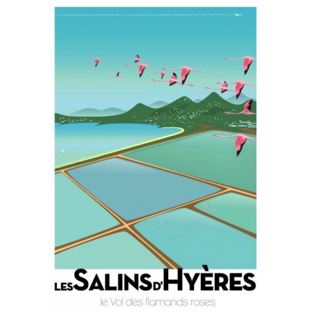 """Affiche tirage d'Art """"Les salins d'Hyères"""" Monsieur Z."""