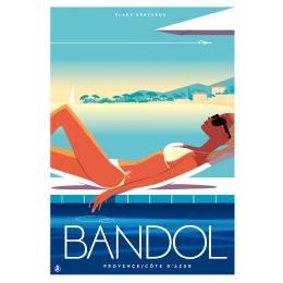 """Affiche tirage d'Art """"Bandol plage Rénecros"""" Monsieur Z."""