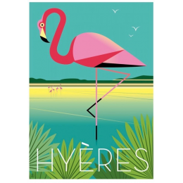 "Affiche tirage d'Art ""Hyeres flamant rose"" Monsieur Z."