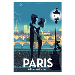 "Affiche tirage d'Art "" Paris Love "" Monsieur Z."