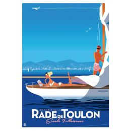 "Affiche tirage d'Art ""La Rade de Toulon - Escale Plaisance"" Monsieur Z."