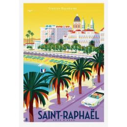 """Affiche tirage d'Art """"Saint Raphael ville"""" Monsieur Z."""