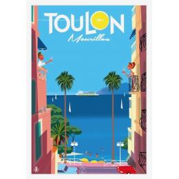 """Affiche tirage d'Art """"Toulon Mourillon apéro balcon"""" Monsieur Z."""