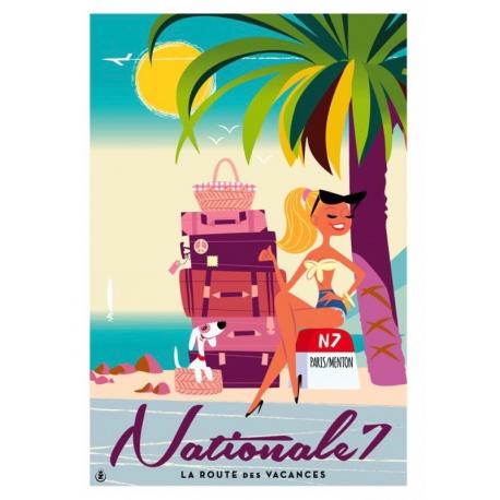 """Affiche tirage d'Art """" Nationale 7 """" Monsieur Z."""
