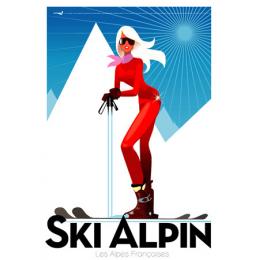 """Affiche tirage d'Art """"Ski alpin - Alpes françaises """" Monsieur Z."""