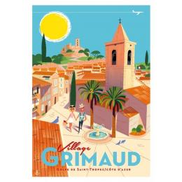 """Affiche tirage d'Art """" Grimaud Village """" Monsieur Z."""