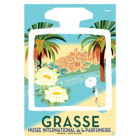 """Affiche tirage d'Art """"Grasse Village Flacon"""" Monsieur."""