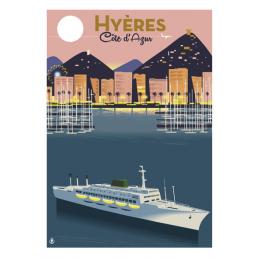 """Affiche tirage d'Art """"Hyeres Port Paquebot"""" Monsieur Z."""