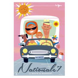 """Affiche tirage d'Art """"Nationale 7 - La route du bonheur"""" Monsieur Z."""
