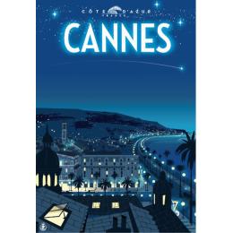 """Affiche tirage d'Art """"Cannes nuit"""" Monsieur Z."""