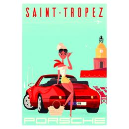 """Affiche tirage d'Art """"Saint-Tropez Porsche""""  Monsieur Z."""