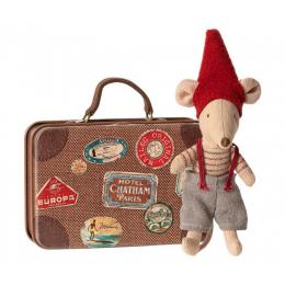 Petite souris de Noël avec sa valise Maileg