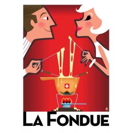 """Affiche tirage d'Art """"La Fondue Suisse """" Monsieur Z."""
