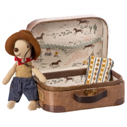 Souris petit frère Cow-boy dans sa valise - Maileg