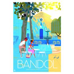 """Affiche tirage d'Art """"Bandol place de l'église"""" Monsieur Z."""
